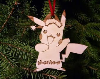 Pikachu Christmas Ornament - Personalized with Name and Year - Gift Box