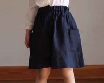 Summer Navy skirt girls linen special occasion school Girls Blue Pink White Orange linen skirt