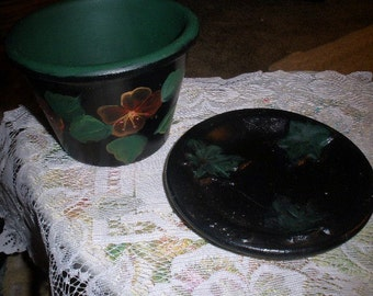 Cute hand painted flower pot and plate - dark green-black background - metallic orange red translucent flowers - hole in bottom for drainage