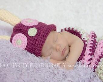 Newborn Caterpillar Costume Photo Prop, Pink Baby Girl Halloween Costume