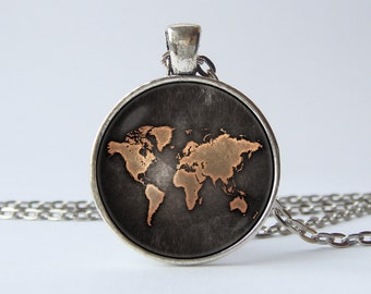 World map necklace world necklace world jewelry world map world map necklace globe necklace earth map jewelry world map pendant travel pendant travel gift world gumiabroncs Gallery
