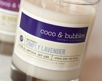 No. 119: SIMPLY LAVENDER  // Natural Soy Candle // 13 oz // Highly Scented