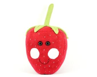 Strawberry Plush Toy, Cute Kawaii Berries, Fruit Cushion, Soft Veggie Plushie, Snuggle Gift, Toddler Toys, Vegan Vegetarian Gifts