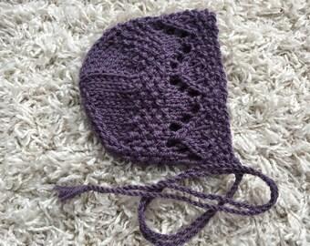 Newborn size knit round back bonnet,photo prop,gift idea,coming home,knit,crochet