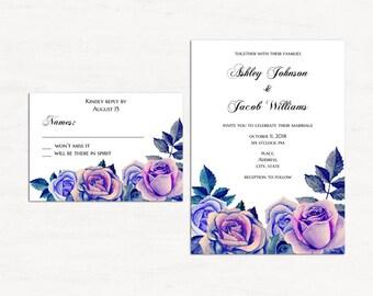 Purple invitation kits printable Lavender wedding invitation