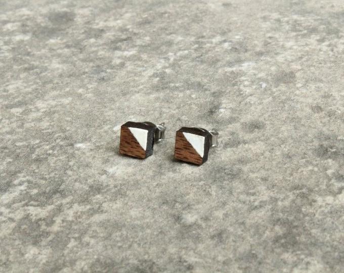 Painted Square Walnut Wood Earrings