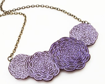 Chrysanthemum Flower Necklace , Purple and Lavender Mum Flowers, Floral Jewelry, Purple Flower Jewelry, Wife Gift, Gardener Gift, Mom Gift