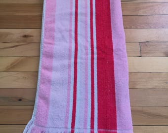 Vintage 1970s Pink White Striped Terry Cloth Bath Towel!