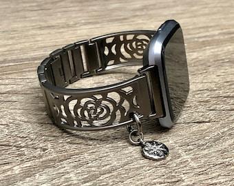 Gunmetal Bracelet for Fitbit Versa Watch Handmade Jewelry for Fitbit Versa Band CZ North Star Bracelet Adjustable Fitbit Versa Bangle