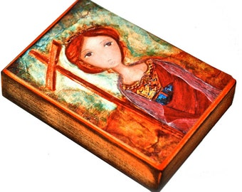 Saint Helena - ACEO Giclee print mounted on Wood (2.5 x 3.5 inches) Folk Art  by FLOR LARIOS
