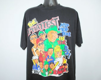 1995 The Phattest Hip Hop Tour in the 95 Vintage Notorious B.I.G. + Naughty By Nature +  Adina Howard + Etc 90's B.E.T. Hip Hop Tour T-Shirt