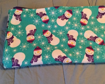 Handmade flannel pet blanket, snowmen