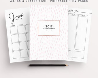 2017 Planner, 2017 Organizer, 2017 Agenda, Printable Planner, 2017 Life Planner, Bullet Journal Printable, Dot Grid, Yearly Planner, Monthly