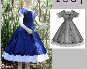 1867 Day Dress for a girl 8 to 10 years old -Victorian Reproduction PDF Pattern - 1860's -  from La Mode Illustree