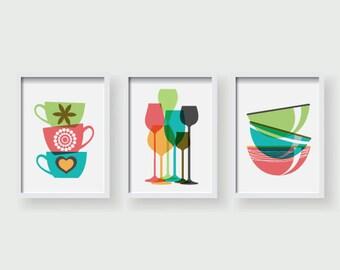 Colorful Kitchen decor, Kitchen wall art, Kitchen prints, set of 3 prints, Kitchen posters, Kitchen art work, Dining room decor, Kitchen art