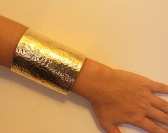 Hammered Long Wide Cuff Gold - Silver  statement Cuff wrist bracelet made of brass, aluminium ,Copper or german silver
