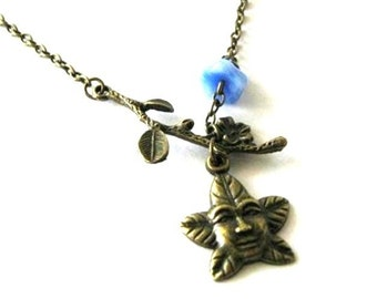 Greenman necklace jewelry blue flower branch necklace antique bronze brass leaf charm necklace pagan