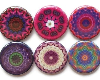Mandala Magnets, Talavera Magnets, Refrigerator Magnets, Fridge Magnets, Decorative Mandalas Magnets, Pinks Purples Mandalas Magnets, 6/Set