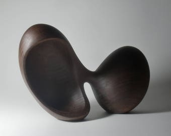 Abstract Wood Sculpture - Duality No.4 - Carved From Walnut With Hand Tools - Biomorphic, Smooth, Modern, Natural, Tactile, Freestanding