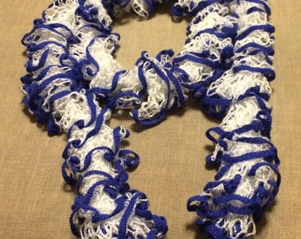 Ruffle Scarf-White with Royal Blue Trim