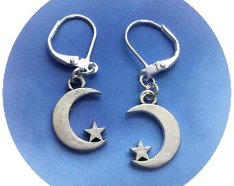 Small Moon and Star earrings, crescent moon and star, 18mm, sold per pair (leave qty as 1)