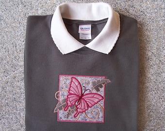 Medium Applique Tropical Butterfly on Charcoal Sweatshirt