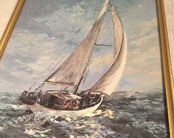 Kirstead  Framed textured Print Sailing Off Kingston Ontario.