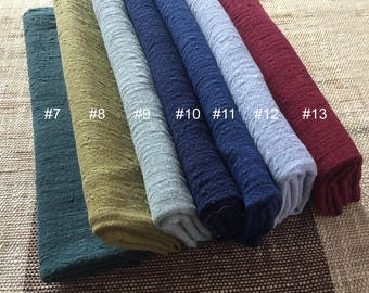 Soft Cotton Linen Blend Crinkle Gauze Fabric Sold by 1/2 Yard