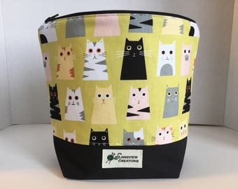 Wedge Bag, Zippered Bag, Knitting Project Bag, Small Project Bag, Sock Size, Cats