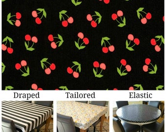 Laminated cotton aka oilcloth tablecloth custom size and fit choose elastic, tailored or draped Robert Kaufman Cherries