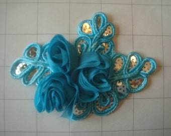 "Aqua Flower and Sequins Braided Applique 4 1/2"" by 3 1/4"""