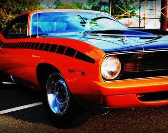 Classic Plymouth Barracuda - Automotive Art - Classic Car - Garage Art - Pop Art - Fine Art Photograph by Kelly Warren