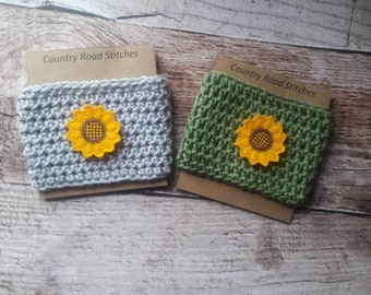 sunflower coffee cozy, sunflower coffee sleeve, gift for Gardner, fall gifts, sunflower cup cozy, fall cup cozy, fall cozy