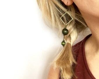 olive green earrings / ANY COLOR / forest green earrings / brass earrings / boho earrings / wood bead earrings / long dangle earrings