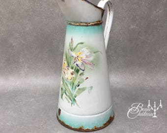 Iris Flowers on Large Vintage French Enamel Water Pitcher Jug - ivory white enamelware with floral design and green blue detailing