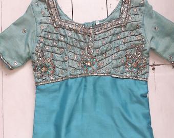Vintage indian sari mesh sequin dress
