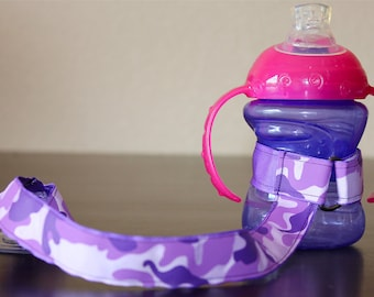Sippy Cup Leash, Sippy Cup Strap, Suction Sippy Strap, Toddler Gift, Christmas Gift - Purple Camouflage