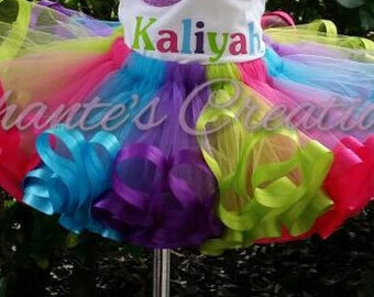 Hot pink, turquoise, purple and lime ribbon trimmed tutu ONLY