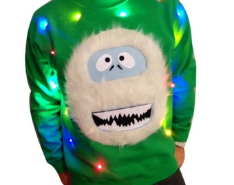 Light Up Christmas Sweater!  - Abominable Snowman - Christmas Jumper - Ugly Christmas Sweater - SALE!!!   _____**Fast Shipping**_____