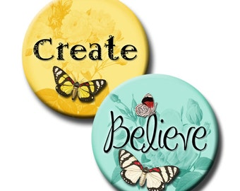 Digital Inspiring Positive Words with Butterflies 1 Inch and 1.25 Inch Round Circles Create Believe Imagine Hope Faith Dream Laugh