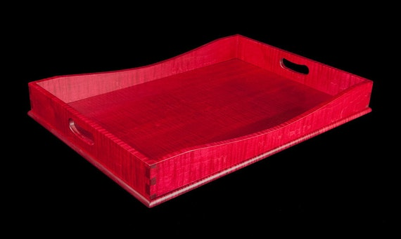 """15"""" x 21"""" Ruby Red Tiger Maple Serving Tray"""