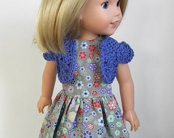 "14.5"" Doll Clothes Sleeveless Gray Dress and Crocheted Royal Blue Bolero Handmade to fit Wellie Wishers Dolls - Gray and Multi Color Flowers"