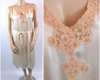 1920s Silk Night Gown - Volup 40 bust - Ivory and Ecru 20s Drop Waist Slip Lacy Boudoir Pinup 20s 30s Pongee Silk