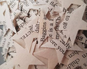 recycled book confetti. THE HOBBIT. star shaped. approx 250 pieces