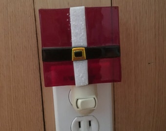 Santa Suit Fused Glass Night Light