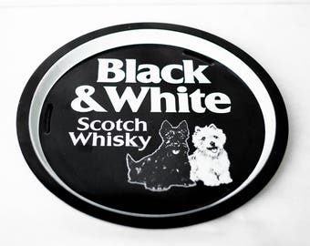 vintage tray, Black & White scotch whisky, dog black and white metal, advertising tray, dog dinner metal servant, tray