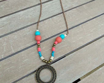 Ethnic beaded turquoise, red and bronze necklace  with bronze strip