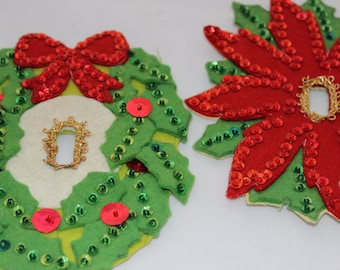 Vintage Felt and Sequin Christmas Light Switch Cover DIY Felt and Sequin Vintage Craft Project Christmas Wreath Switchplate Covers