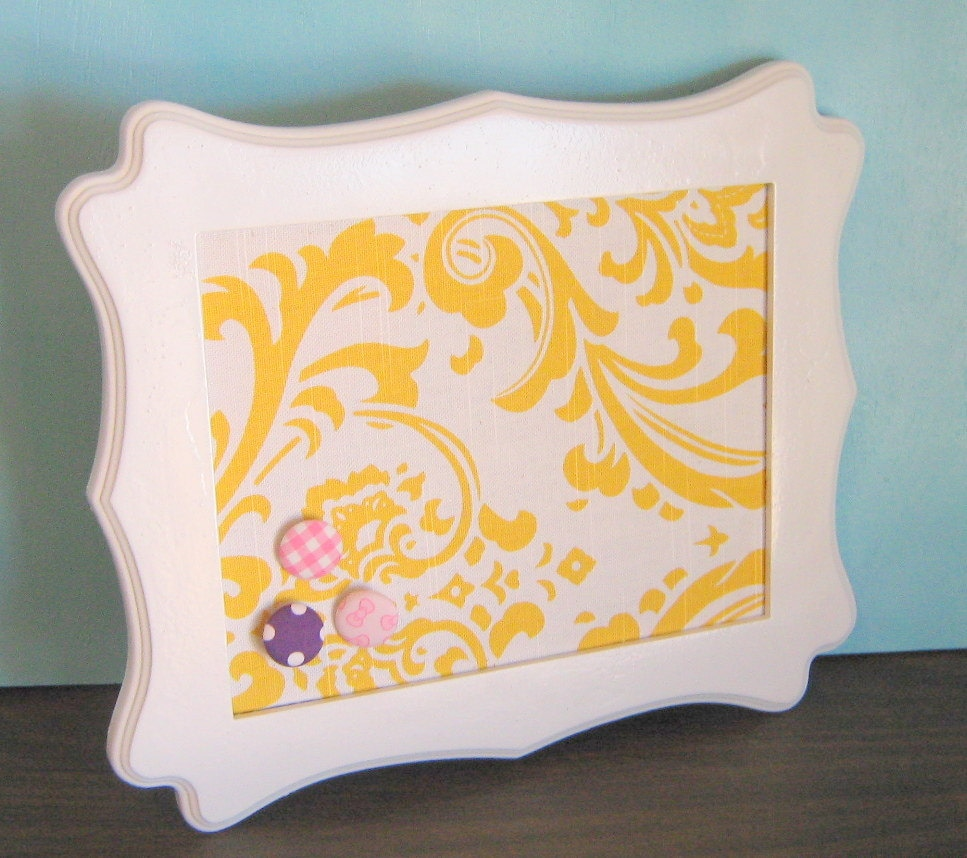 White Decorative PIn Board Scalloped Frame Yellow Damask Hostess Gift for Her Memo Board Ready To Ship