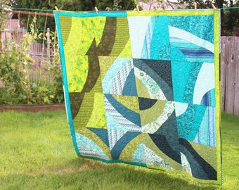 Lap Quilt, Art Quilt, Wall Hanging, Large Throw, Curved Piecing, Green, Blue, FREE Shipping